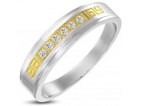 Prsteň so zirkónmi, zlatý grěcky kľúč, oceľ