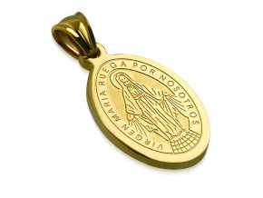 Prívesok z chirurgickej ocele, Panna Mária, zlatá farba