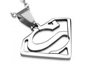Prívesok z chirurgickej ocele, symbol SUPERMANA, strieborná farba