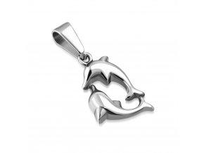 Prívesok z chirurgickej ocele, delfíny striebornej farby