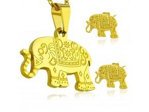 Dámsky náhrdelník a náušnice z chirurgickej ocele, gravírovaný slon