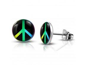 Puzetové náušnice z chirurgickej ocele, symbol PEACE