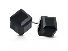 Oceľové puzetové náušnice, kocky čiernej farby