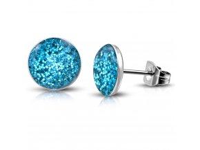 Puzetové náušnice z chirurgickej ocele, trblietky modrej farby