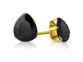 Dámske náušnice z chirurgickej ocele, čierna slza, zlatá farba
