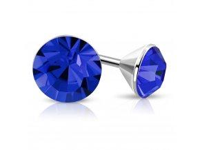 Náušnice z chirugickej ocele, strieborná farba, modrý zirkón 5 mm