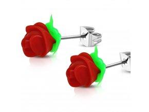 Puzetové náušnice pre ženu s červenou ružou, chirurgická oceľ