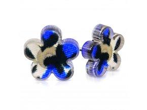 Puzetové náušnice z chirurgickej ocele s kvietkom, modrý leopardí vzor