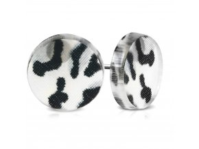 Okrúhle náušnice z chirurgickej ocele, čierno biely leopardí vzor