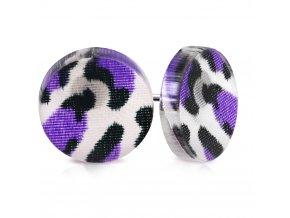 Okrúhle náušnice z chirurgickej ocele, fialový leopardí vzor