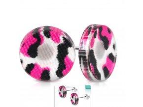 Okrúhle náušnice z chirurgickej ocele, ružový leopardí vzor