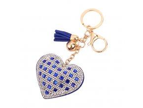 Prívesok na kabelku, modré srdce s kamienkami, strapec