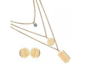 Náboženský set šperkov pre ženu, číry zirkón, známka, chirurgická oceľ04