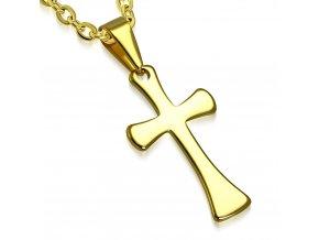Prívesok kríž z chirurgickej ocele, zlatá leská farba