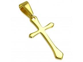 Prívesok kríž zlatej farby, lesklá chirurgická oceľ