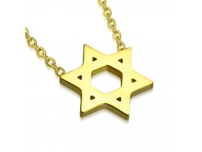 Náhrdelník na krk, Dávidova hviezda, zlatá farba, chirurgická oceľ