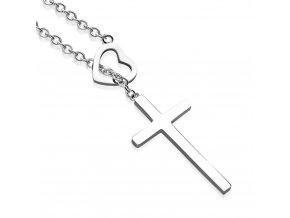 Náhrdelník na krk, srdce a kríž, strieborná farba, chirurgická oceľ01