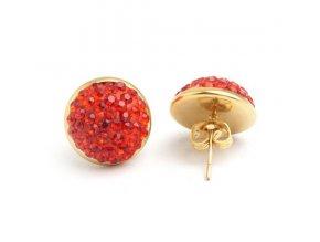 Náušnice z ocele so zirkónmi, okrúhle červené Shamballa puzetky