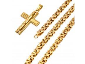 Pánska retiazka na krk s krížom, kráľovský vzor, oceľ, zlatá farba