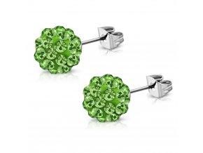 Zelené Shamballa náušnice z chirurgickej ocele 6 mm