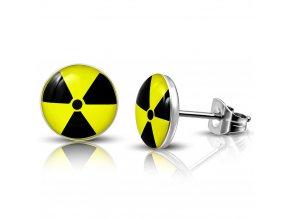 Puzetové náušnice z chirurgickej ocele, symbol radioaktivity 10 mm