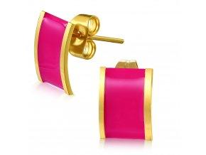 Dámske náušnice z chirurgickej ocele, ružová glazúra
