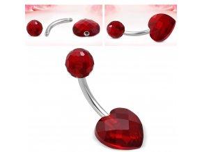 Piercing do pupka z chirurgickej ocele, červené srdce