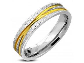 Pieskovaný prsteň z ocele, zlatá a strieborná farba, ryhy