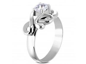 Zásnubný prsteň so zirkónom, chirurgická oceľ, vlnka