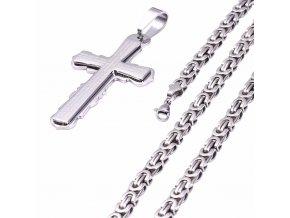 Pánska retiazka na krk s krížom, kráľovský vzor, chirurgická oceľ, modlitba