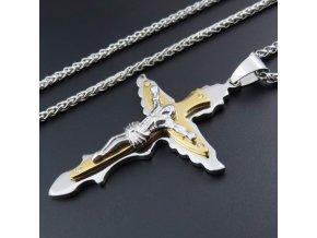 Pánska retiazka s krížom, retiazka SPIGA, dve farby, krídla, oceľ
