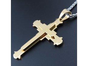 Pánska retiazka s krížom, retiazka SPIGA, strieborná a zlatá farba, oceľ (2)