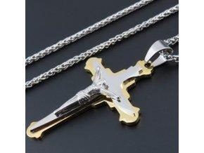Pánska retiazka s krížom, retiazka SPIGA, strieborná a zlatá farba, oceľ oceľ