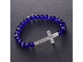 Náramok na ruku pre ženu, modré koráliky, zirkónový kríž, bižutéria
