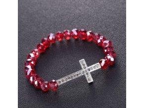 Náramok na ruku pre ženu, červené koráliky, zirkónový kríž, bižutéria