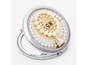 Kozmetické zrkadlo do kabelky pre ženu, parfém, nápis N°5 (2)