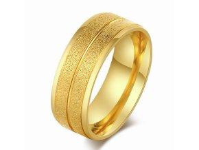 Prsteň z chirurgickej ocele, dva pieskované pásy, zlatá farba