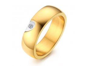 Dámska svadobná obrúčka z ocele, zlatá farba, číry zirkón, polovica srdca