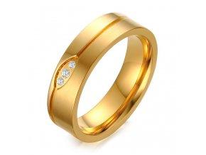 Svadobná obrúčka pre ženu, zlatá farba, vlnka, číre zirkóny, oceľ
