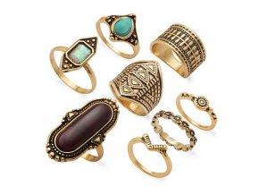 Set prseňov pre ženu, zlatá farba, patinovanie, kamienky 8 prsteňov