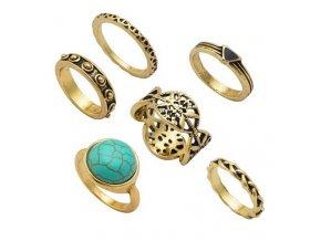 Set prsteňov pre ženu, zlatá farba, patinovanie, kamienky 6 prsteňov