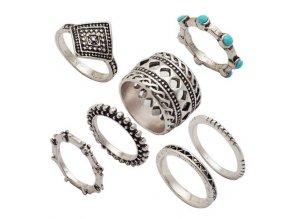 Dámsky set prsteňov, strieborná farba, patinovanie, kamienky 7 prsteňov