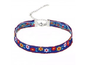 Dámsky náhrdelník choker, farebné kvety a retiazka bižutéria