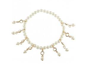 Náramok na nohu pre ženu s príveskami, perličky a kamienky bižutéria