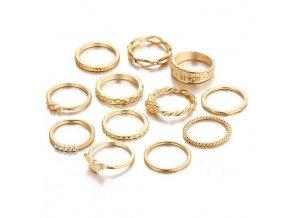 Set presteňov pre ženu, zlatá farba, číre zirkóny 12 prsteňov