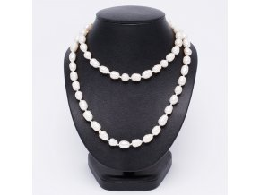 Náhrdelník z riečnych oválnych perál, bižutéria