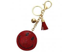 Prívesok na kabelku, červený smajlík, strapec a gulička