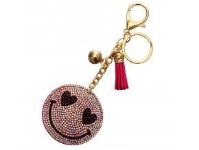 Prívesok na kabelku, ružový zaľúbený smajlík, strapec a gulička