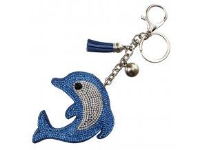 Prívesok na kľúče, modrý delfín s kamienkami, strapec a gulička