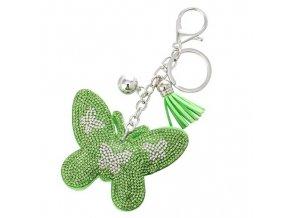 Prívesok na kľúče, zelený motýľ s kamienkami, strapec a gulička
